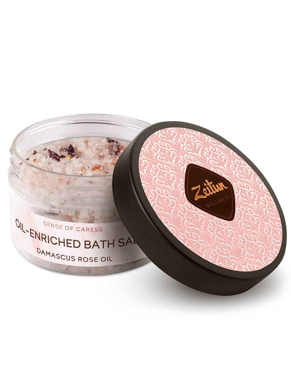 Sense of Caress Oil-enriched Bath salt with Damascus Rose and Peach oil