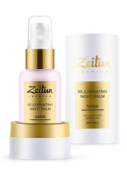 "SAIDA rejuvenating night Balm ""Anti-aging care"" for mature skin with 24K gold"