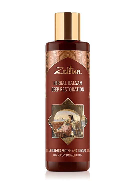 "Herbal balsam ""Deep restoration"" for severely damaged hair — cottonseed protein and Tunisian olive"