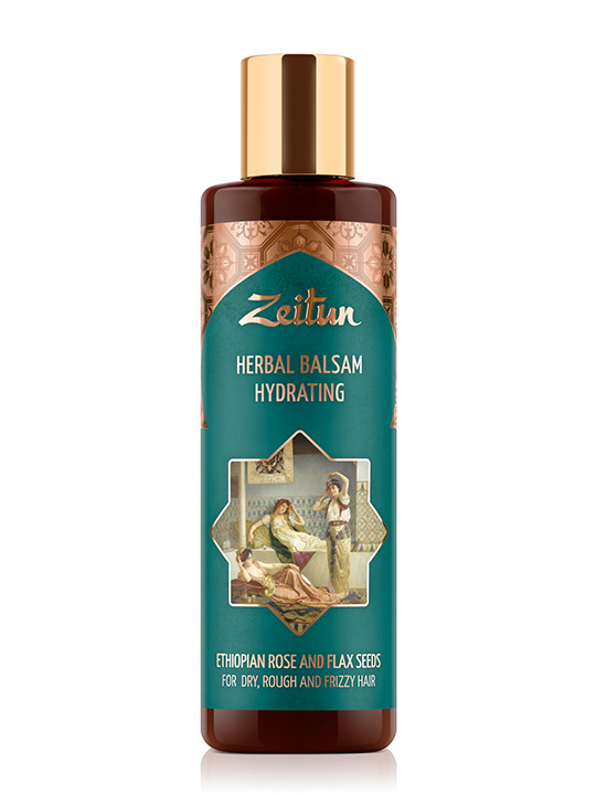 "Herbal balsam ""Hydration"" for dry, rough and frizzy hair — Ethiopian rose and flaxseeds"