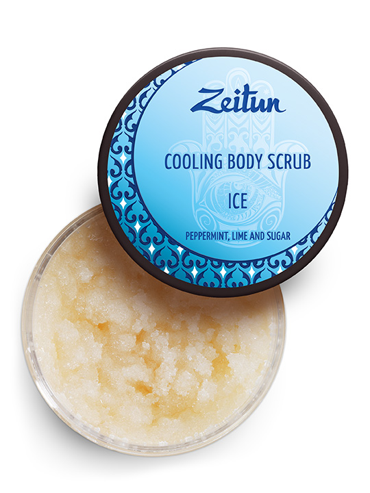 "Cooling body scrub ""Ice"" — peppermint, lime and sugar"