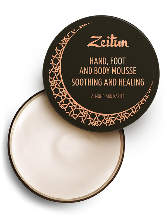 "Hand, foot & body mousse ""Almond & karite"" — soothing and healing"