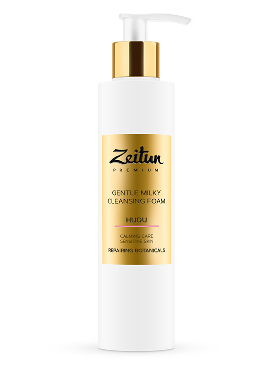 "HUDU gentle Milky Foam ""Calming care"" for sensitive skin with repairing botanicals"