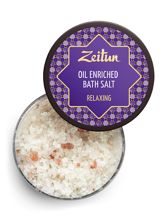 "Oil enriched bath salt ""Relaxing"" – lavender, juniper and eucalyptus"