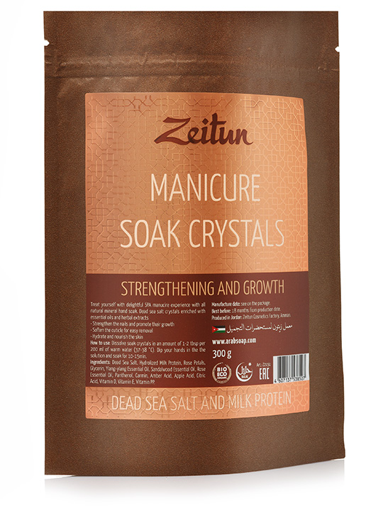 "Manicure soak crystals ""Strengthening & growth"" — Dead sea salt and milk protein"